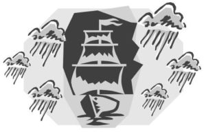 Stormy ship