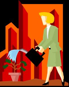 biz woman watering plant