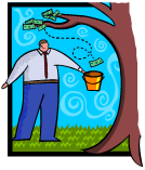 man catching money from a tree