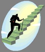 man climbing money