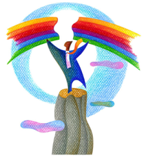 man holding rainbow